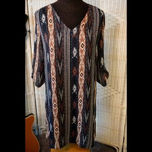 NWT: Navy Tribal Geo Shift Dress, Fits Like Medium